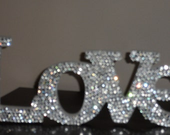 "Swarovski Crystal ""LOVE"" standing love sign"