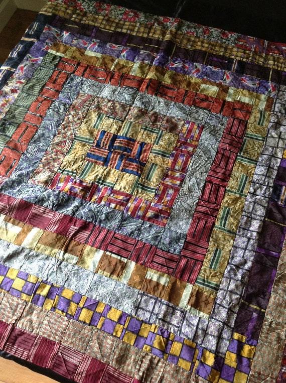 Tie Quilt , Handmade, 1920, Sulka Ties