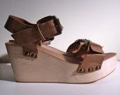20% SALE - 60's  Style Wooden Platform Vegan Leather Sandals - Size 8