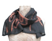 Shawl linen Hand-painted motif Scarf wrap natural linen black brown , eco linen scarf spring , summer