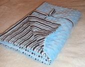 Brown/blue striped minky dot blanket