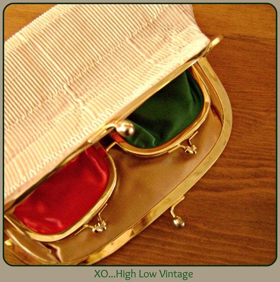 Vintage KORET Cream Silk Pleated Clutch Handbag Purse w/ Gold Green Red Interior