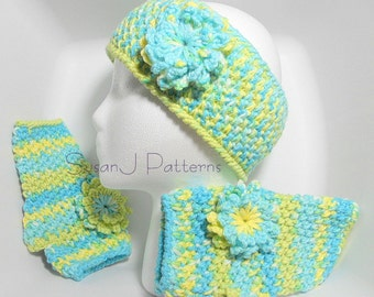 Crochet Pattern for Fingerless Gloves/ Mittens & Headband with Flower - PDF