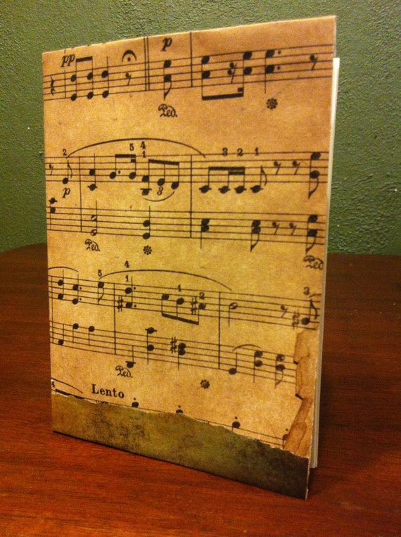 Music notes blank book -- stitched binding