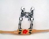Dia De Los Muertos Hand Painted Mexican Folk Art Boxing Skeletons Toy