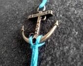 Turquoise Anchor Bracelet Friendship Bracelet Antiqued Bronze Anchor Charm Bracelet Jewelry