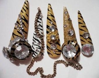 Double-sided zebra Kawaii Deco Gyaru Nails