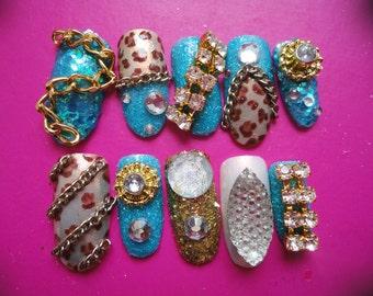 Blue, Leopard and Gold Kawaii Gyaru Nails