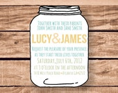 Custom DIY Digital Mason Jar Wedding Invitation Set