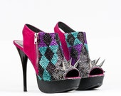 Jeweled and Spiked Hot pink peep toe sky high heels 7