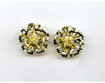 Sarah Coventry  Gold and Rhinestone Earrings
