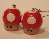 Super Mario Brothers 1 Up Mushroom Red Polymer Clay Earrings