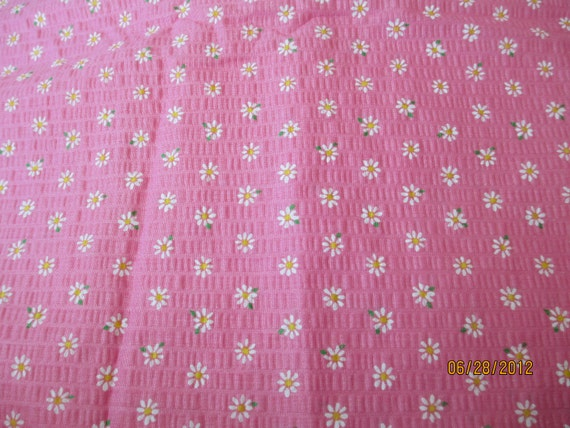 "Pink Seersucker with white flowers, 44"" wide, 1.5 yards"