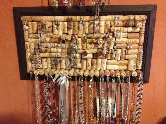 Necklace Jewelry Organizer on wine corks