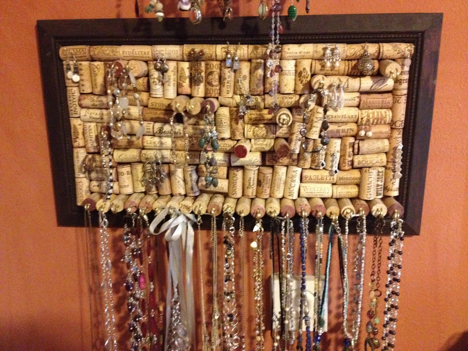 Necklace Jewelry Organizer On Wine Corks