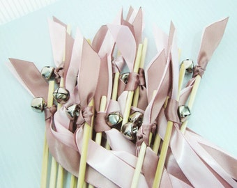 150 Ceremony Wands with two satin ribbons one bell / wedding sparklers / bubbles tube / photo prop / birdseeds / rice alternative