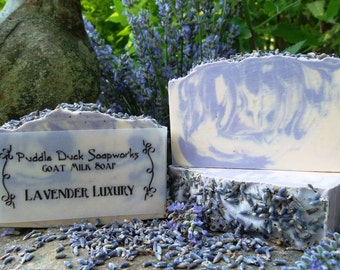 Lavender Luxury Goat Milk Soap with Essential Oil, Olive Oil, Rice Bran Oil, Shea Butter, and Blossoms