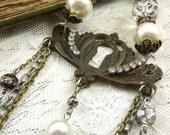 Religious Vintage Assemblage Necklace Cross Crucifix Saints Medals Antique Brass Keyhole Escutcheon Antique Rhinestones