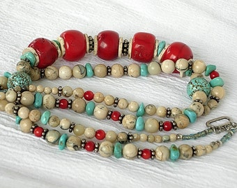 Necklace of Red Bamboo Coral, Turquoise, River Stone, and Shell with Sterling Silver Accents