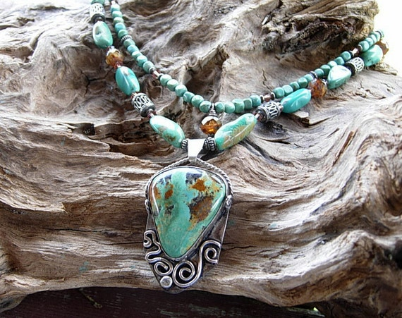 Turquoise Necklace with a Large Sterling and Turquoise Pendant OOAK