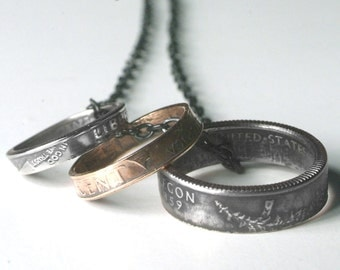 Hand Crafted Double Sided Coin Ring Necklace Made from a Dime Penny and Quarter Choose your year! Mother's Day Birthday Gift or Annviersary