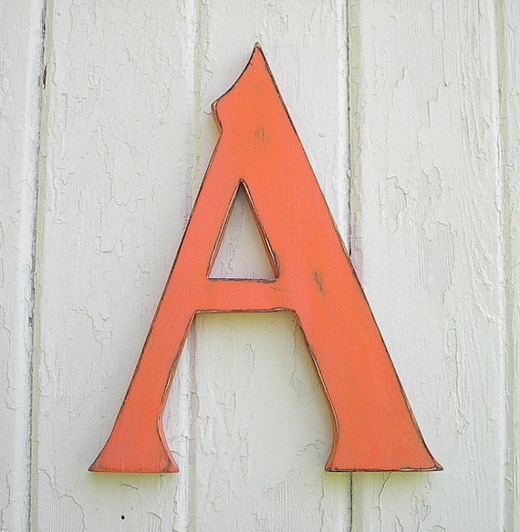 "Wooden serif Letter ""A"" Big Shabby Chic sign 12 inch Kids Wall Art Sign Orange Letter signs Rustic Nursery Letters Wall Letters"