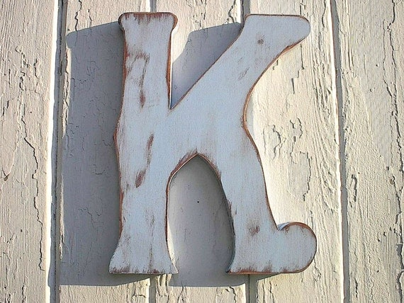 "Distressed Wooden 12"" letter K wedding favors photo props shabby chic wood sign kids wall art letter Rustic"