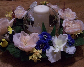 Summer floral candle ring with yellow finches