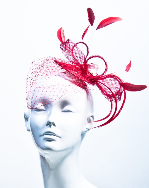 Red with Netting Feather Fascinator