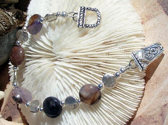 Silver Bracelet Anethyst Bead Jewelry B022