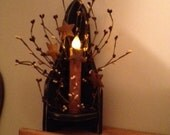 Candle, Wood Shelf, Berries (LED Timer Candle)