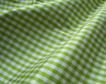 "Green Gingham dupioni silk - 54"" wide"