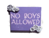 No Boys Allowed, Girls Room Decor, Purple and Flowers, Wall Art