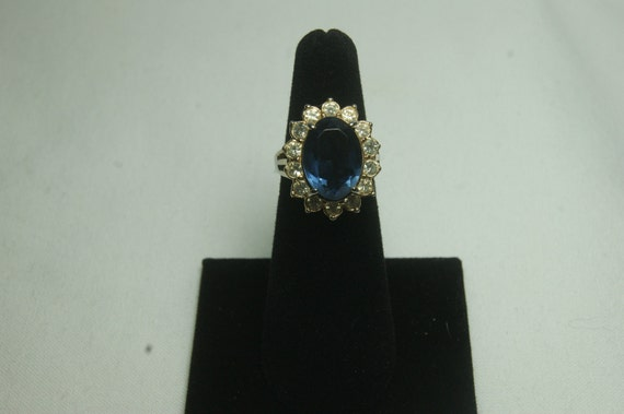Faux Sapphire and Rhinestone Cocktail Ring