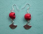 earrings silver little bird red turquoise skull pendant alloy ear hook,stud earrings