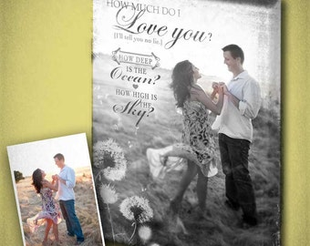 Wedding Engagement Canvas with Love Quote