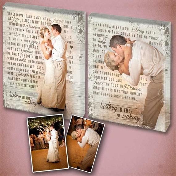 First Dance Song Lyrics with Wedding Photos- Custom art using lyrics!