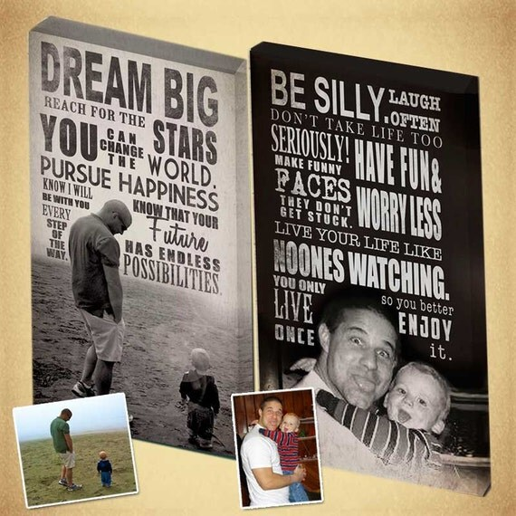 Father's Day Canvases Wall Art, Personalized Photo with Typography