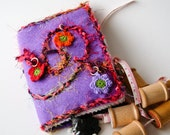 Needle Case booklet with handmade appliqued cord, beads and crochet flowers