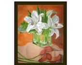 Original Flower Oil Painting of Lilies on 16x20 Stretched Canvas, White, Orange, Green, Still-life, Calla Lilies, Easter Lilies