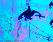 Green Electric Whale  UV Black light size: small t-shirt