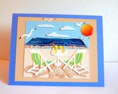 Handmade Beach Scene-Tropical Paradise-Vacation-Blue-Tan-Sunset