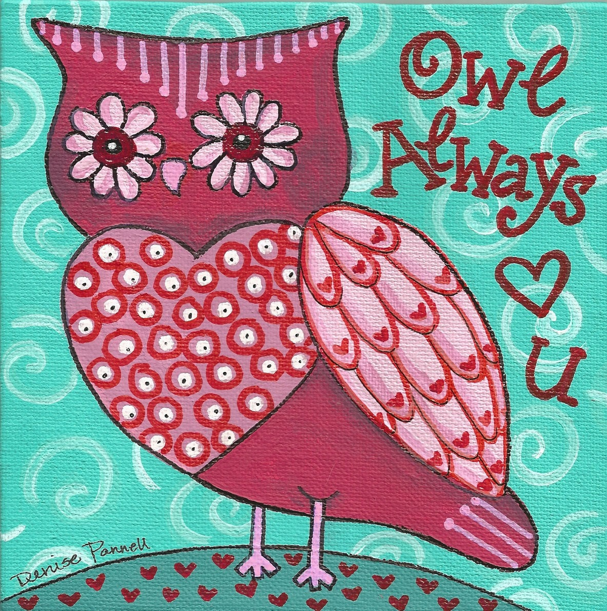 Owl Always Love You Acrylic Painting on Canvas Panel