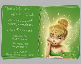 Custom Tinkerbell Fairies Birthday Party Invitations - DIY Printable File