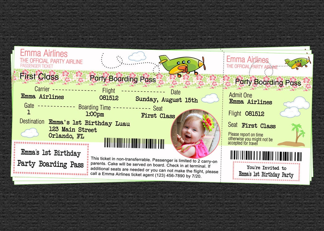 Custom Airline Ticket Airplane Birthday Luau Party Photo – Airline Ticket Birthday Invitations