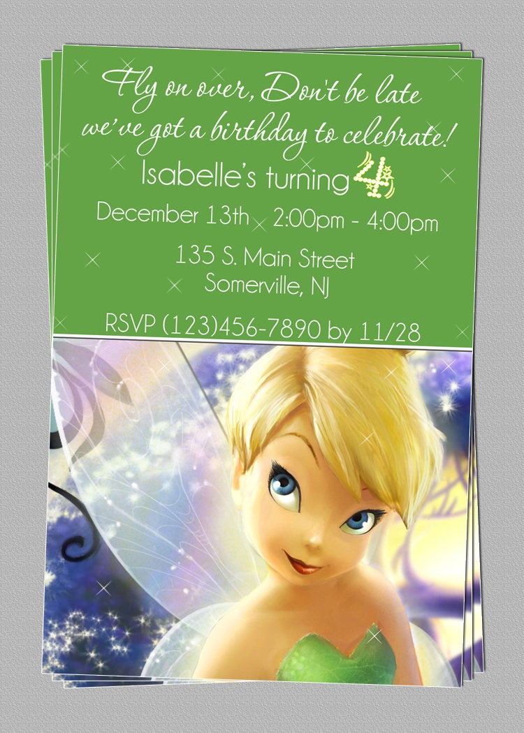 custom tinkerbell fairies birthday party invitations diy