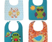 P.D.F. Applique Baby Bib Pattern Four Pack, Fat Quarter Friendly - Cute Owls, Bird, Robot - INSTANT DOWNLOAD