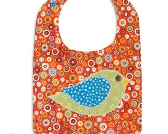 Bird Baby Bib Pattern, P.D.F Sewing Pattern, Easy Sewing Pattern, Great Beginner Sewing Pattern - In Fine Feather - INSTANT DOWNLOAD