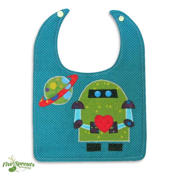 Robot Baby Baby Bib Pattern PDF Pattern Easy by SproutsFabric