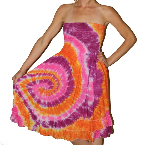 Tie Dye Convertable - Dress - Skirt - Size Large ((Ready To Ship)) ON SALE